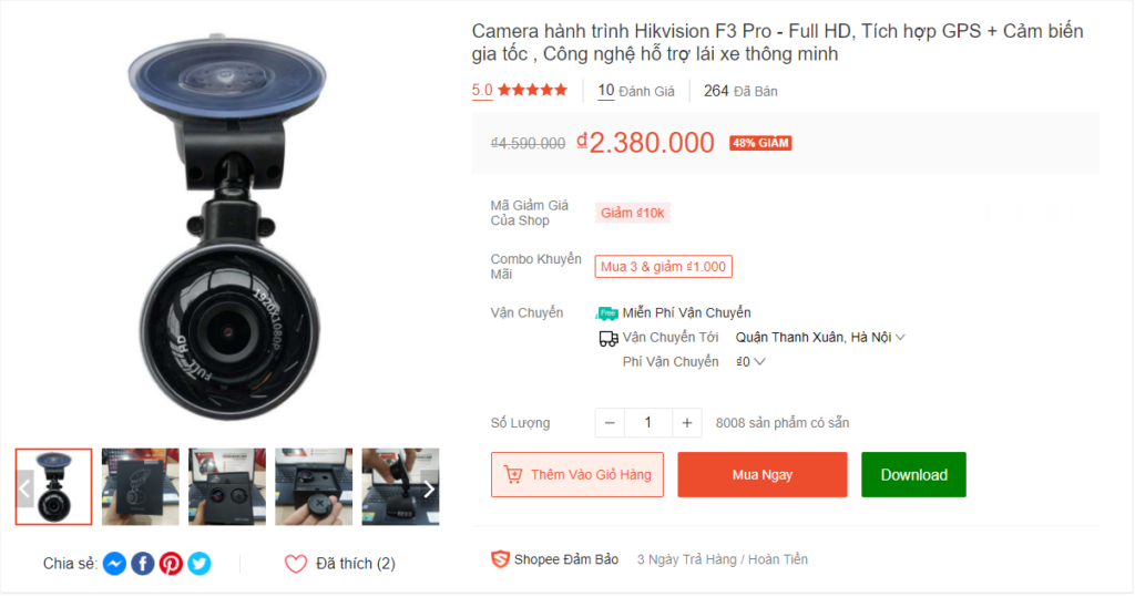 Camera hành trình Hikvision F3 Pro