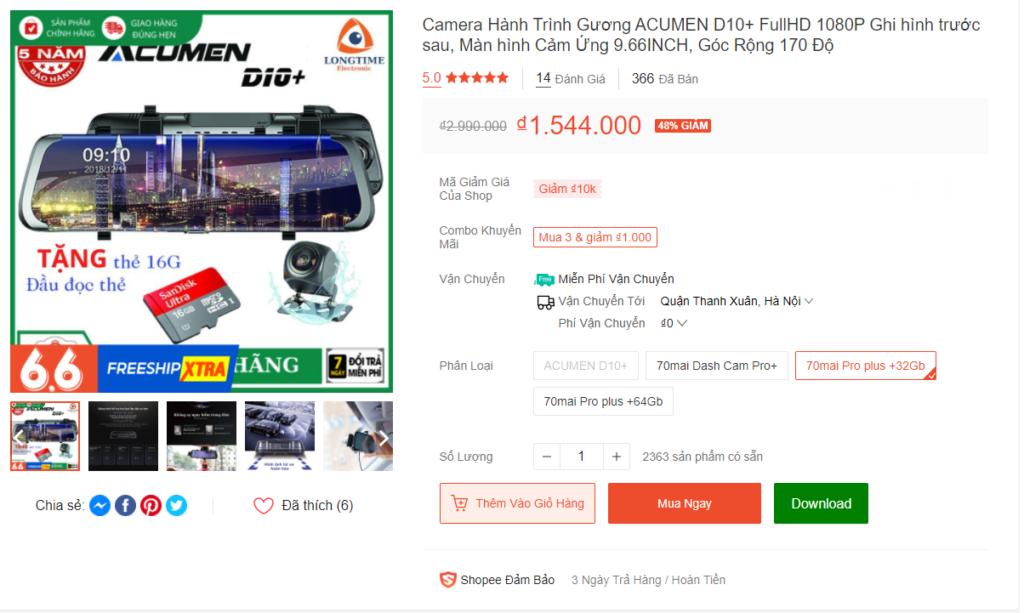 Camera Hành Trình Gương ACUMEN D10+ FullHD 1080P