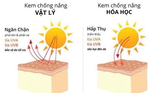 Sự khác biệt cơ bản giữa kem chống nắng vật lý và hoá học