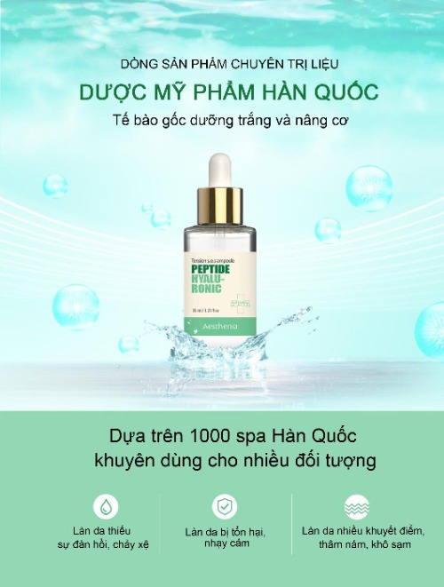 Aesthenia Tension S.O.S Ampoule Peptide Hyaluronic - màu xanh lá cây