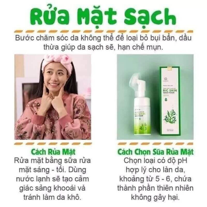 Các bước rửa mặt bằng Ric Skin